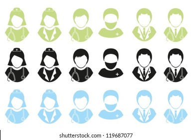 Abstract image of the medical personnel. Set vector icons . EPS-10 (non transparent elements, non gradient)