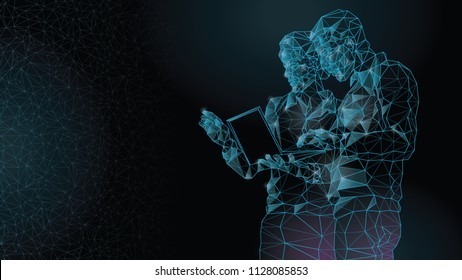 Abstract image of a meeting of a woman and a man by a businessman, teamwork, high technology, working on a laptop. Polygons from lines, points and shapes. A dark background. Blue lines.