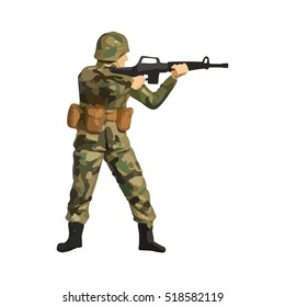 Abstract image of a modern military infantry soldier wearing camouflage uniform - EPS10 Vector