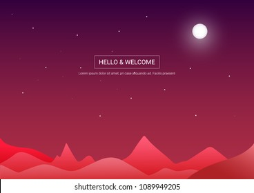 Abstract image of a moon and the mountains in red colors.vector illustration of background and wallpaper.