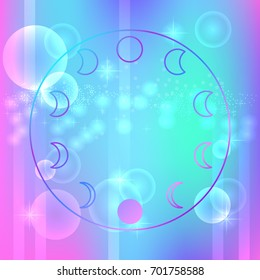 Abstract image of the moon phases on the opalescent background. Trend illustration, magic and astrology. Universal Print in the style of aesthetics, vaporwave. Vector mesh EPS 10