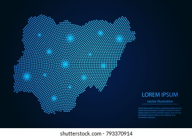 Abstract image Nigeria map from point blue and glowing stars on a dark background. vector illustration.