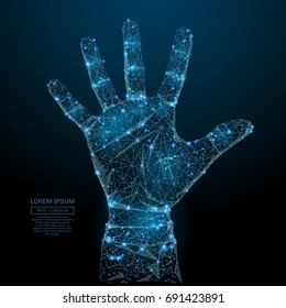 Abstract image of a open palm in the form of a starry sky or space, consisting of points, lines, and shapes in the form of planets, stars and the universe. Vector hend up wireframe concept.
