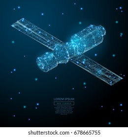 Abstract image of a Orbital space station in the form of a starry sky or space, consisting of points, lines, and shapes in the form of planets, stars and the universe. Vector business concept