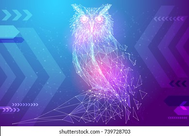 Abstract image owl bird in the form of a starry sky or space, consisting of points, lines, and shapes in the form of planets, stars and the universe. Education vector wireframe concept. Blue purple