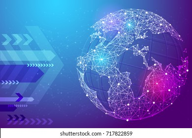 Abstract image planet Earth in the form of a starry sky or space, consisting of points, lines, and shapes in the form of planets, stars and the universe. Earth vector wireframe concept. Blue purple