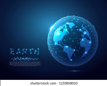 Abstract image of a planet Earth view from space. Vector polygonal Globe in the form of starry sky, consisting of points, lines, and shapes Ozone layer or ozone shield