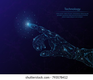 Abstract image of a robot arm in the form of the constellation. Consisting of points and lines.