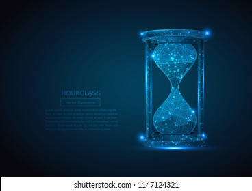 Abstract image of a sand clock in the form of a starry sky or space, consisting of points, lines, and shapes in the form of planets, Low poly hourglass. Vector business wireframe illustration.