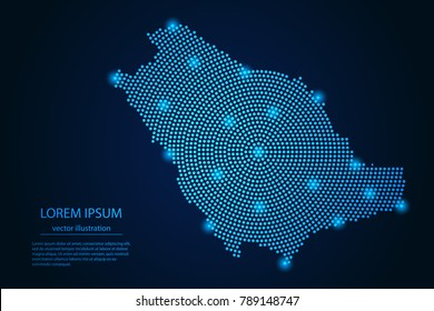 Abstract image Saudi Arabia map from point blue and glowing stars on a dark background. vector illustration.