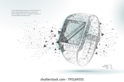 Abstract image of a Smart watch in the form of a starry sky or space, consisting of points, lines, and shapes in the form. Smart watch with polygon line on abstract background. Polygonal space low pol