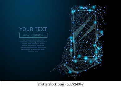 Abstract image of a smartphone in hand in the form of a starry sky or space, consisting of points, lines, and shapes in the form of planets, stars and the universe. Smartphone vector wireframe concept