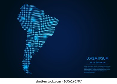 Abstract image South America map from point blue and glowing stars on a dark background. Vector Illustration.