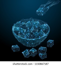 Abstract image of a Sugar bowl with sugar cubes in the form of a starry sky or space, consisting of points, lines, and shapes in the form of planets, stars and the universe. Eat and drink wireframe