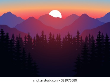 Abstract image of a sunset, the dawn sun over the mountains in the background and a thick forest down to the valley in the foreground. Mountain landscape. Forest mountains in the background. vector