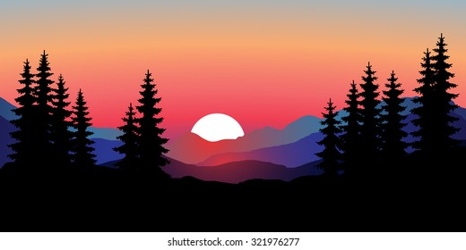 Abstract image of a sunset, the dawn sun over the mountains in the background and trees in the foreground. Mountain landscape. Forest mountains in the background. Picture for conversion. vector