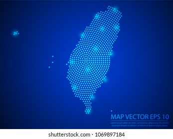 Abstract image Taiwan map from point blue and glowing stars on Blue background.Vector illustration eps 10.
