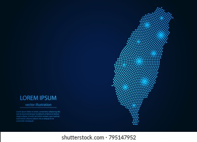 Abstract image Taiwan map from point blue and glowing stars on a dark background. vector illustration.