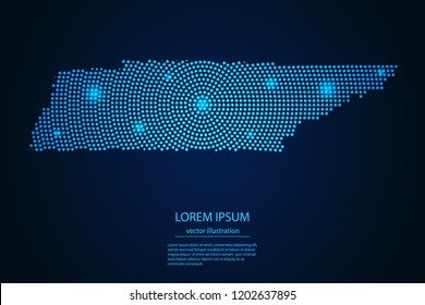 Abstract image Tennessee map from point blue and glowing stars on a dark background. vector illustration.