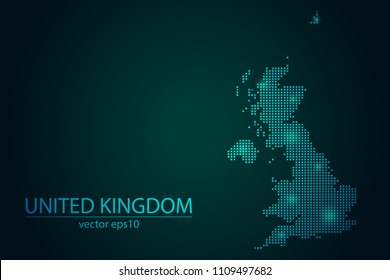 Abstract Image United Kingdom Map From Pixel Emerald Green and Glowing Stars on a Dark Background. Vector illustration Eps 10.