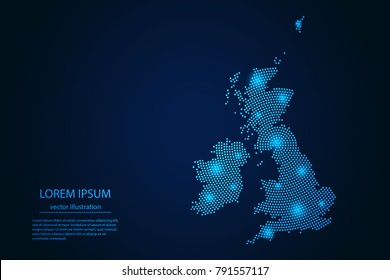 Abstract image United Kingdom map from point blue and glowing stars on a dark background. vector illustration. Vector eps 10.