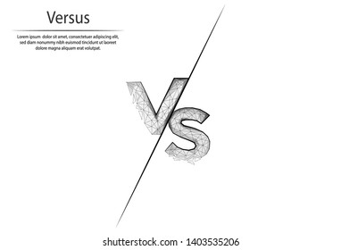 Abstract image Versus in the form of lines and dots, consisting of triangles and geometric shapes. Low poly vector background.