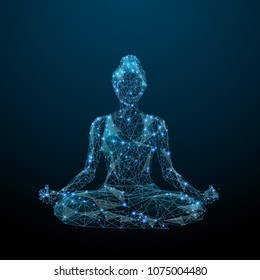 Abstract image of woman yogi sits in a lotus pose in the form of a starry sky or space, consisting of points, lines, and shapes in the form of planets, stars and the universe. Vector yoga