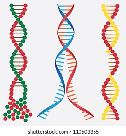 Abstract images of broken DNA chains on the white background.