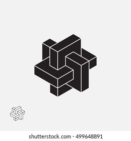 Abstract impossible object. Line design. Vector illustration EPS 10