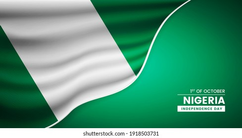 Abstract independence day of Nigeria background with elegant fabric flag and typographic illustration