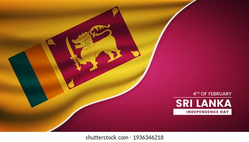 Abstract independence day of Sri Lanka background with elegant fabric flag and typographic illustration