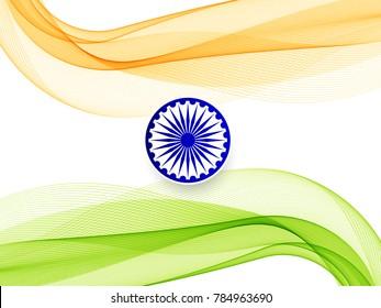 Abstract Indian Flag theme stylish wavy background