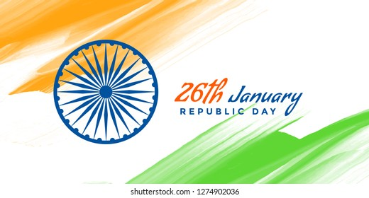 abstract indian watercolor flag republic day background