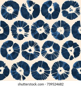 Abstract Indigo Floral Dot. Seamless Pattern.