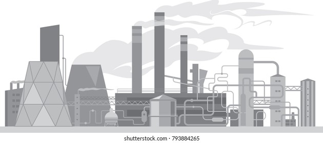 Abstract industrial buildings, chemical plant or factory silhouette isolated on white. Vector illustration