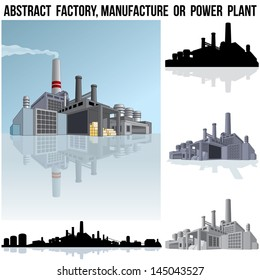 Abstract Industrial Factory, Manufacture Building or Power Plant. 3D Vector Graphics
