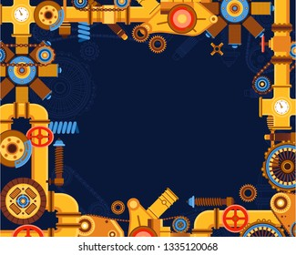 Abstract industrial manufacturing plant scene with ambient light, Intelligent system automation AI computer online vector illustration.