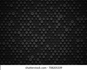 Abstract industrial realistic embossing volume cylinder texture, depressed circles black background, 3d geometric pattern. Round dot cyber backdrop. Digital futuristic techno vector wallpaper.