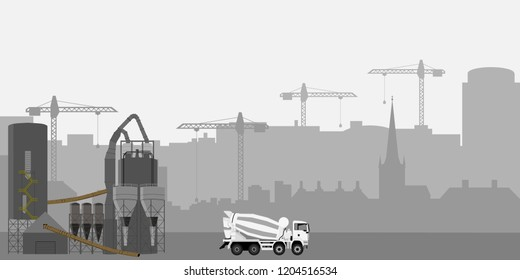 Abstract Industrial Skyline. Concrete cement truck. Mixet truck and cement factory. Panoramic Industrial Construction landscape silhouette. Vector illustratuion