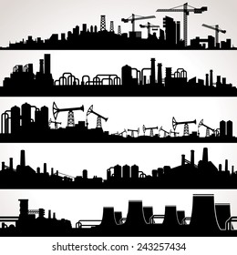 Abstract Industrial Skyline. Panoramic Seamless Silhouettes. Vector Set