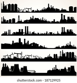 Abstract Industrial Skyline Set. Vector Panoramic Silhouettes