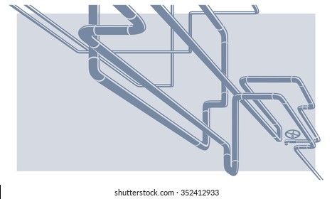 Abstract Industrial Vector Background with chaotic pipeline construction