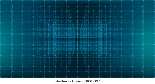 Abstract Infinite  Perspective HUD Background - vector illustration