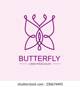 Abstract infinity butterfly symbol. Vector logo template. Design concept for spa, beauty salon, cosmetic shop.