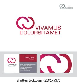 Abstract infinity shape vector logo template & business card template. Visualization of business corporate identity. Vector graphics representing concept of unity, technology, infinity of progress.