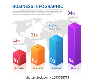 Abstract infographic 3d bar finance with world map vector chart. Finance chart and business infographic, diagram and graphic illustration