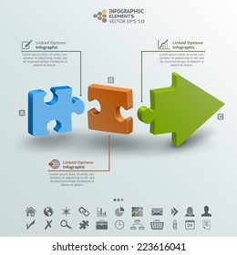Abstract Infographic background of three pieces of a puzzle making an arrow. Useful for presentation, brochure, seminar, infographic background, web design and more.