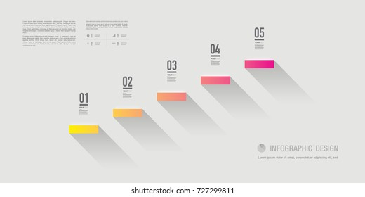 Abstract infographic design with 5 numbered steps and your text. Eps 10 stock vector illustration