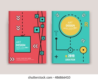 Abstract infographic elements set. A4 cover design. Red, yellow, green color marketing brochure. Title sheet model. Financial figure box, step points list arrangement. Web application icon. Vector art