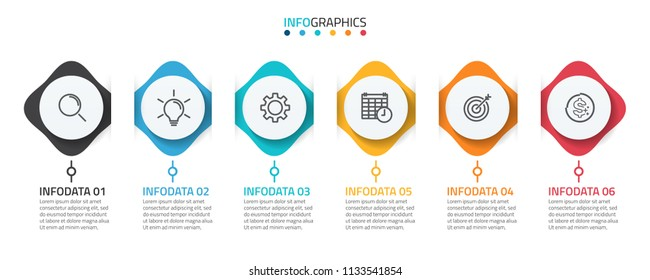 Abstract infographic elements. Timeline with 6 steps, options and marketing icons. Can be used for business process step, workflow diagram, presentation or web design. Vector illustration.